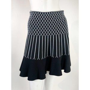 Fendi Black Gray Knit Flare Striped Skirt